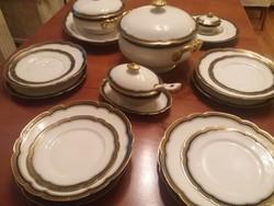 Antik, francia, elegáns Limoges étkészlet az 1800-as évek végéről.