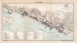 Fiume és kikötője (2), térkép, 1894, eredeti, magyar nyelvű, lexikon melléklet, tenger, kikötő, hajó