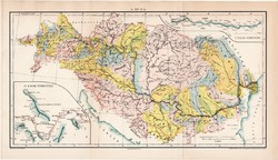 A Duna (3), térkép, 1894, eredeti, magyar nyelvű, lexikon melléklet, folyószabályozás, Magyarország