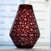 Különleges, lencsés csiszolású retró kristály váza