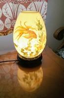 Keleti kerámia éjjeli lámpa, kézzel festett halacskás képpel, aromaolaj párologtatóval