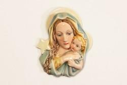 Századfordulós Keramos Wien Fali kép Szűz Mária Madonna a Gyermek Jézussal Karácsonyi Dísz