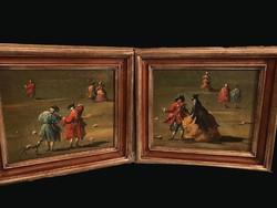 Antik olasz festmény párban