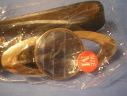 N5 Design Fekete bőr öv,arany színű fém díszítés+ prízma díszes üveg ajándékozhatóan 106 x 2 cm