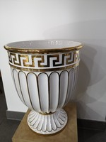 Egyedi! Zsolnay pirogránit Cézár római kaspó 18k aranyozott, hatalmas