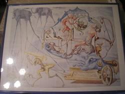N3 Salvador Dali ritka 88 x 60 cm plexi védős kép ritkasága ajándékozható Leárazva