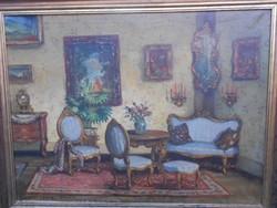 Apátfalvi Czene János(1904-1984)Neobarokk szobabelső.Szép keretben.