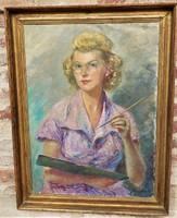 Kövesi ( Köves ) Albi ( 1900- ? ) Önarckép 1949 olajfestménye 92x71cm Eredeti Garanciával !!!