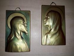 Régi Zsolnay Jézus és Mária plakett