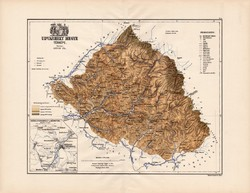 Udvarhely megye térkép 1887 (3), vármegye, atlasz, eredeti, Kogutowicz Manó, 43 x 57 cm, Gönczy Pál