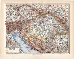 Osztrák - Magyar Monarchia politikai térkép 1908, német nyelvű, eredeti, Magyarország, politika