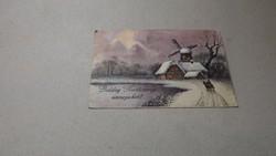 Régi karácsonyi képeslap 1925 1000 koronás bélyeg