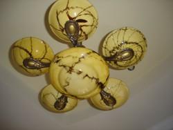 LEÁRAZTAM !!! 1+5 ágú antik réz csillár márványos búrákkal