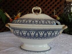Antik Angol fajansz  nagyméretű levesestál   Stone China Stoke on Trent George Jones