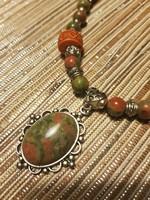 Oliva zöld unakit - terrakotta nyakék, nyaklánc - meseszép!