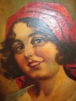 Cigány lány portré - olaj vászon