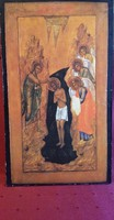 BIBLIAI TÉMÁJÚ SZENTKÉP / TÁBLAKÉP JÉZUS MEGKERESZTELÉSE, KERESZTELŐ JÁNOS, ANGYALOK 22 x 38 CM