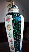 NEM MINDENNAPI LÁTVÁNY 65cm-es Herendi SiangNoir padlóváza, igazi luxus porcelán