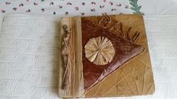 Antik gyönyörű, fából, levelekből készült fényképalbum eladó!