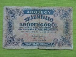 Adójegy százmillió adópengőről 1946