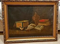Lévay Z. monogrammos Pipás csendélet olj-vászon festmény.Kb. 85 x 65 cm