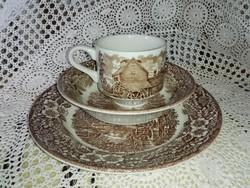 Angol porcelán reggeliző szett, műzlis, kávés, lapos tányérral.