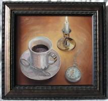 """Zoltai Attila """"Kávés csendélet"""" c. festmény nagyon szépen keretezve, ingyenes postázással eladó!"""