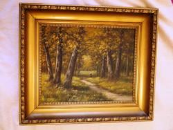 Erdő tájfestmény festmény tájkép olajfestmény Beregi T.