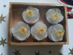Orhideás gyertya teamécses csomag fadobozban