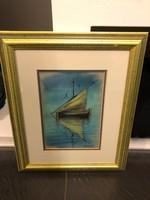 Hajó a vizen Horvát művész pasztellképe