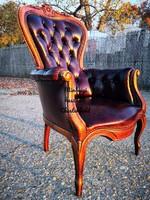 Antik chesterfield faragott barokk, antik konyak színű bőr fotel!