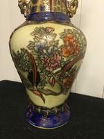 Kézzel festett kínai váza, virág és madár motívummal