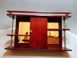 GYÖNYÖRŰ!!! Fali téka fali polc eredeti bíbor szín fazettált tükrök réz oszlopok és rátétek