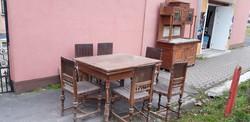 Szecessziós étkezőgarnitúra asztal+6db szék