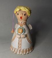 Kerámia női alak angyalka csengővel SZI jelzéssel