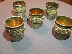 Ritka orosz aranyozott-ezüstözött kupica ,kupa,pohár,5db