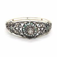 925. Antik Arany Kar Reif Gyémántokkal és Smaragdokkal