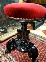 Antik, faragott, reneszánsz zongoraszék restaurálva