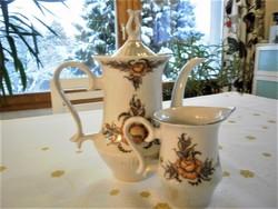 Különleges porcelán kávé és tej kiöntő szett, kávékiöntő készlet, kanna, rózsamintás
