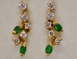 Szépséges antik smaragd 18kt aranyfülbevaló