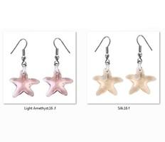 Swarovski kristály fülbevaló -16mm-es tengeri csillag több színben