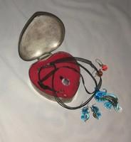 Régi muránói üveg ékszerek medál fülbevaló ékszeres dobozban