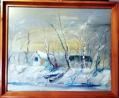 Hangulatos téli vízpart, jelzett olajfestmény