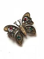 Filigrán, ezüst pillangó bross