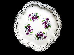 Aquincumi ibolyamintás áttört porcelán tál