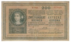 200 korona 1918 Sima hátlap