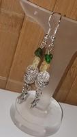 Smaragd Citrin  és  kristály  fülbevaló. 4,5 cm-es