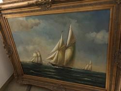 Olaj vászon festmény hajós