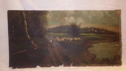 Jelzett igen öreg olaj-karton festmény