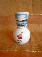 Bodrogkeresztúri kerámia váza Velencei-tó látképpel és Kalocsai mintával